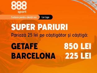 legalbet.ro: Barça are 4 victorii consecutive la Getafe iar tu ai o super promoţie la 888 Sport.