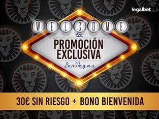 Promoción exclusiva LeoVegas - 30€ GRATIS ¡sin riesgo! + Bono Bienvenida.
