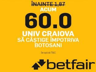 legalbet.ro: Cota BOMBA la pariuri pentru victoria U Craiova in meciul cu FC Botosani.