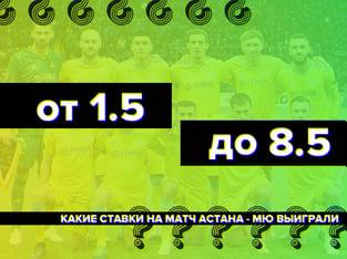 Legalbet.kz: От 1.5 до 8.5: какие ставки на матч Астана – МЮ выиграли.