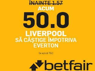 legalbet.ro: Profita de cote de 50.00 daca FCSB si Liverpool castiga.