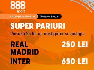 legalbet.ro: Ai cote de vis, pe măsura unui meci de poveste ca Real Madrid - Inter Milano.