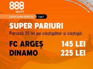 legalbet.ro: Ia-ţi cotele generoase la meciul FC Argeş - Dinamo. Gazdele au cota 29.00 pentru o victorie!.