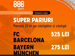 legalbet.ro: Cote foarte generoase pentru marele meci Barcelona vs Bayern.